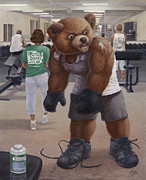 Glove Mixed Media Framed Prints - Bodybuilder Teddy Framed Print by Preston Craig
