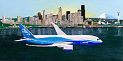 Seattle Skyline Paintings - Boeing 787 First Flight by Tim Neiser