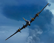 Flying Photo Prints - Boeing B-17 Flying Fortress Print by Adam Romanowicz