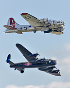 Wwii Photo Posters - Boeing B-17G Flying Fortress and Avro Lancaster Poster by Alan Toepfer