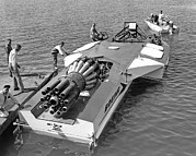 Jet-powered Metal Prints - Boeing Jet Powered Speed Boat Metal Print by Underwood Archives