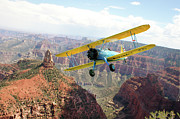 Stearman Prints - Boeing Stearman at Mount Hayden Grand Canyon Print by Gary Eason