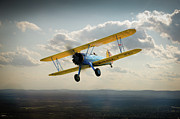 Stearman Prints - Boeing Stearman trainer in flight  Print by Gary Eason