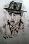 Featured Drawings - Bogart Noir by Brian Horsley
