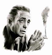 David Pucciarelli Collectible Art Drawings - Bogey   Humphrey Bogart   by Iconic Images Art Gallery David Pucciarelli