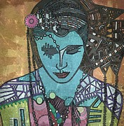 Amy Sorrell Paintings - BoHee woman by Amy Sorrell