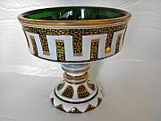 Antique Glass Art - Bohemian glass pedestal bowl with intricate gilded decorations by Anonymous artist