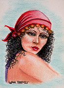 Gypsy Drawings Prints - Bohemian Maiden Print by Lora Duguay