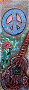 Freedom Mixed Media - Bohemian Peace Guitar by Laura Barbosa