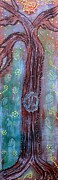 Hippie Mixed Media Posters - Bohemian Peace Tree Poster by Laura Barbosa