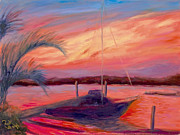 Boats In Water Paintings - Bohicket Sunset by Patricia Huff
