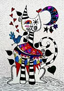 Cat And Moon Paintings - Boho Cat and Moon by Sandra Perez-Ramos