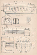 Mechanisms Drawings Framed Prints - Boiler drawing and diagrams Framed Print by Anon