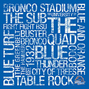 Turf Art - Boise State College Colors Subway Art by Replay Photos