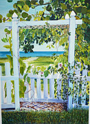 Picket Fence Originals - Bokeelia Behind the White Picket Fence by Susan Duda