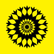 Flower Kaleidoscopes Posters - Bold Black and Yellow Kaleidoscope Mandala Poster by TigerLynx Art