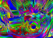 Warp Digital Art Prints - Bold Harley Davidson V Twin Print by Jack Zulli