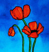 Mothers Day Mixed Media Prints - Bold Red Poppies - Colorful Flowers Art Print by Sharon Cummings