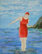 Vintage Swimwear Posters - Bold Red Poster by Tamyra Crossley