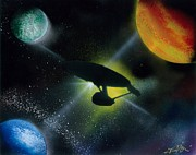 Outer Space Painting Metal Prints - Boldly Go Metal Print by Thomas DOrsi