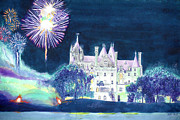 4th July Paintings - Boldt Castle Fireworks by Robert P Hedden