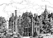 Tour Drawings Metal Prints - Boldt Castle Metal Print by Philip Lee