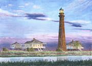 Galveston Paintings - Bolivar Light by Carolyn English