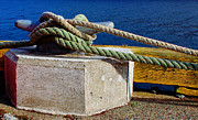 Concrete And Iron Posters - Bollard Closeup - Ropes - Mooring Lines - Wharf Poster by Barbara Griffin