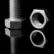 Stainless Steel Prints - Bolt and Nut Print by Jim Hughes