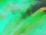 Emerald Green Abstract Paintings - Bolt Emerald Green by L J Smith