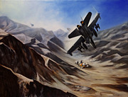 F-18 Painting Prints - Bomb Run Print by Stephen Roberson