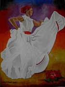 Puerto Rico Paintings - Bomba Plena Dancer by Sonia Rodriguez