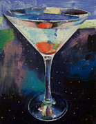 Glitter Paintings - Bombay Sapphire Martini by Michael Creese