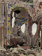 World War One Painting Prints - Bombed Out Interior of Albert Church Print by Ernest Proctor