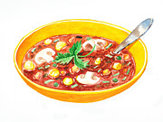 Groceries Painting Posters - Bon Appetit A Bowl Of Soup Poster by Irina Sztukowski
