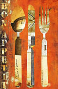 Eat Mixed Media Prints - Bon Appetit Rustic Industrial Utensils Print by AdSpice Studios