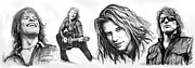 Drummer Drawings Framed Prints - Bon Jovi art drawing sktech poster Framed Print by Kim Wang