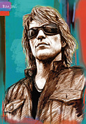 Rock Band Mixed Media Prints - Bon Jovi long stylised drawing art poster Print by Kim Wang