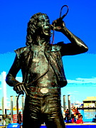 Bon Scott Framed Prints - Bon Scott AC DC statue in Fremantle Framed Print by Roberto Gagliardi