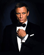 British Celebrities Digital Art Prints - Bond - Portrait Print by Paul Tagliamonte