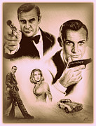 Movie Art Drawings Posters - Bond The golden years Poster by Andrew Read