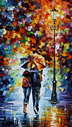 Original Oil Paintings - Bonded By Rain 2 by Leonid Afremov