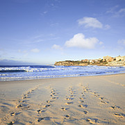 Footprints Photo Prints - Bondi Beach Sydney Australia Foodtprints and Surf Print by Colin and Linda McKie