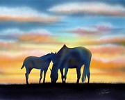 Prairie Mixed Media Posters - Bonding at Dusk - 1 Poster by Chris Fraser