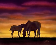 Mustang Mixed Media - Bonding at Dusk - 2 by Chris Fraser