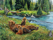 Cubs Painting Originals - Bonding Time by Steve Spencer