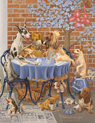 Beagle Puppies Paintings - Bone Appetit Restaurant by Victor Powell