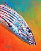 Fly Fishing Painting Prints - Bonefish Portrait Print by Mike Savlen