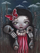 Pop Surrealism Painting Posters - Bones Butterflies and Dreams Poster by  Abril Andrade Griffith