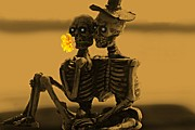 Halloween Card Mixed Media Posters - Bones In Love  Poster by David Dehner